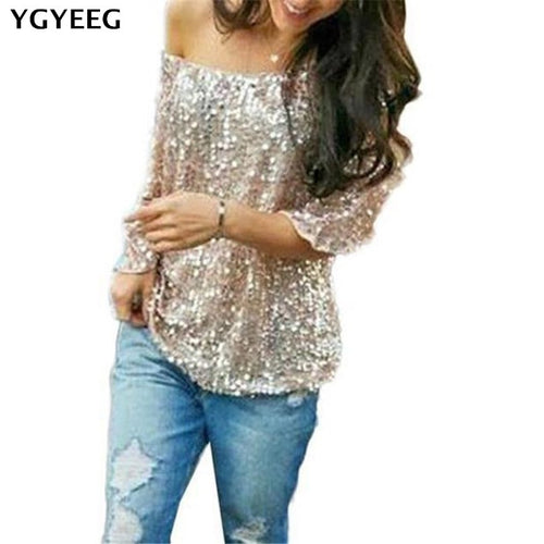 YGYEEG Sexy Women One Shoulder Sequin Shirt Top Black Long Sleeve Sloping Shoulder Blouse Top Glitter Slim Clubwear Party Top - ShopeeShipee