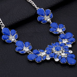 Colorful Rhinestone Flower Necklaces Women Fashion Crystal Jewelry Charm Silver Chain Choker Statement Bib Collar Necklace - ShopeeShipee