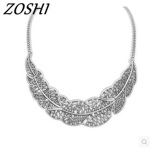 Jewelry wholesale Vintage Antient Gold Silver Leaf Pendant Statement Necklace For Woman New collar necklaces & pendants - ShopeeShipee