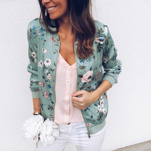 Zipper Plus Size Women's Jacket Floral Printed Long Sleeve O Neck Tops Sweatshirt Spring Slim Womens Coats And Jackets Outwear - ShopeeShipee
