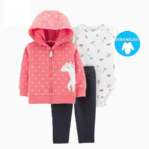 baby girl clothes cartoon  autumn newborn boy outfit long sleeve sets hooded jacket unicorn+romper+pants winter clothing - ShopeeShipee