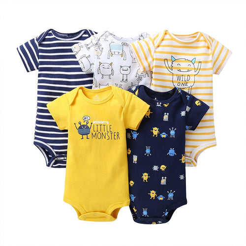 cartoon monster baby bodysuit newborn boy girl clothes new born short sleeve onesie cotton unsisex body clothing 5PCS/SET - ShopeeShipee