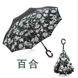 dropshipping Windproof Reverse Folding Double Layer Inverted Umbrella Self Stand umbrella rain women high quality 2017 car
