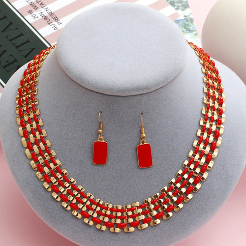 exaggerated indian wedding jewelry sets red drop earrings short choker statement necklace collar valentine days gifts - ShopeeShipee