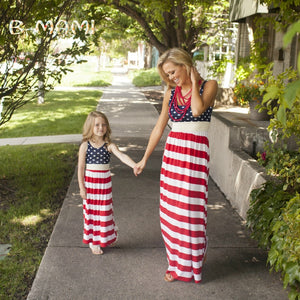 family matching clothes mother daughter dresses striped polka pot summer dress girl Maxi dress Flag Day mommy and me sets