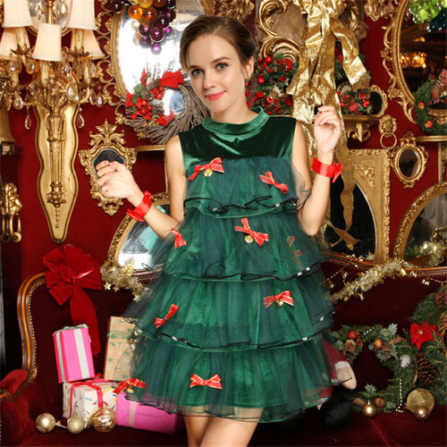 high-quality green Elf Christmas tree color Dress Christmas bells night club show DS costumes Xmas party masquerade clothing - ShopeeShipee