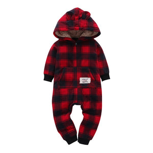 kid boy girl Long Sleeve Hooded Fleece jumpsuit overalls red plaid Newborn baby winter clothes unisex new born costume - ShopeeShipee