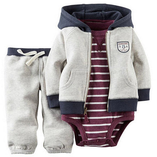 kids baby bebes boy clothes set hooded jacket+rompers+pants infant boy girl clothing Autumn Spring children suits newborn set - ShopeeShipee