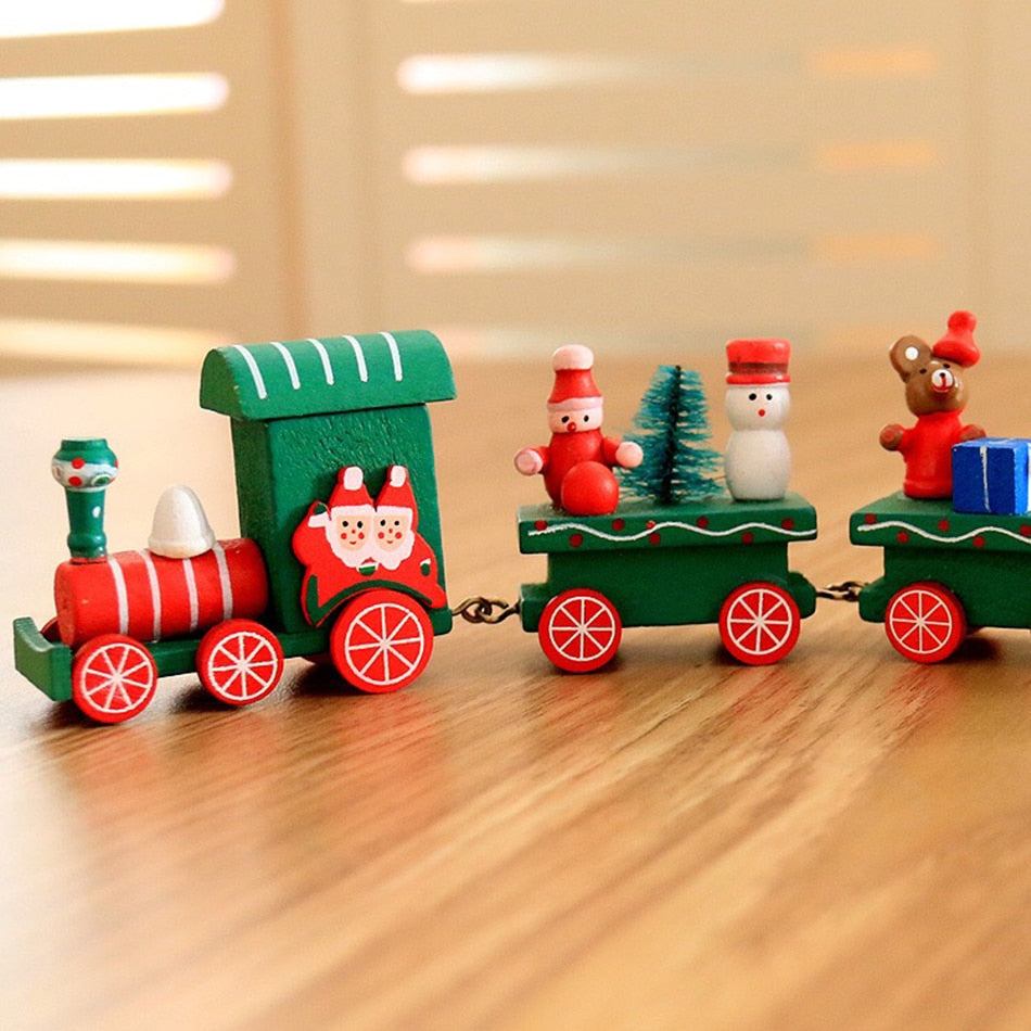 new christmas train painted wood with santabear xmas kid toys gift ornament navidad christmas