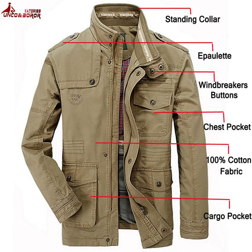 plus size 6XL 7XL 8XL 100% cotton Jackets Men Military Cargo Jackets Tactical Combat Business male Coat Pilot Bomber Jackets men - ShopeeShipee