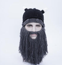 Men's Hat Head Barbarian Vagabond Viking Beard Beanie Horn Hats Handmade Knit Winter Warm Holiday Party Cool Funny Cosplay Cap - ShopeeShipee