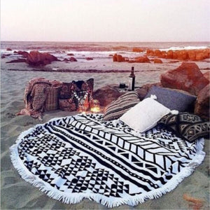 Microfiber Beach Towel Fabric for Adults Round Beach Towels with Tassel Printed Summer Women Sandy Swimming Sunbathing Towel  | Shopee Shipee Yipee - ShopeeShipee