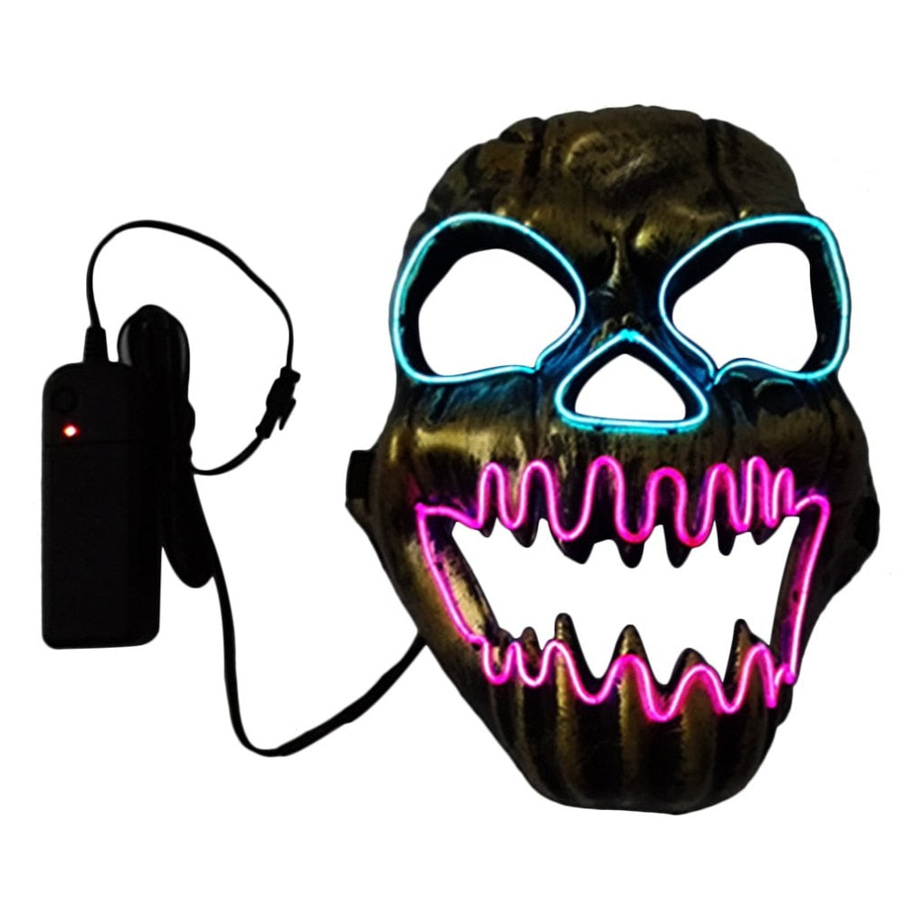 2018 Halloween Head Band Mask Horrible Open Mouth Fire Skull EL Masquerade Dancing Parties LED SlipKnot Mask Festival Decoration - ShopeeShipee