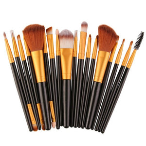 18 pcs 3 Colors Makeup Brush Set tools Make-up Toiletry Kit Wool Make Up Brush Set  | Shopee Shipee Yipee