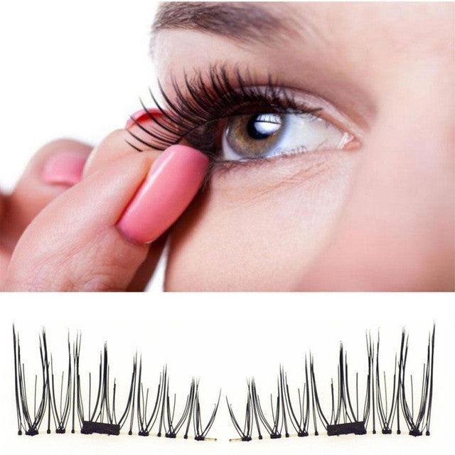 Hot Popular 4 PCS Classic 3D Magnetic False Eyelashes Extension Tools Natural Makeup Fake Magnet Eye lashes maquiagem - ShopeeShipee