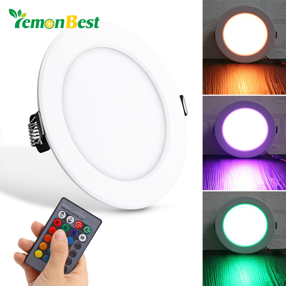 10W Round RGB LED Panel Light Concealed Recessed Ceiling Lights with Remote Control AC 85-265V - ShopeeShipee