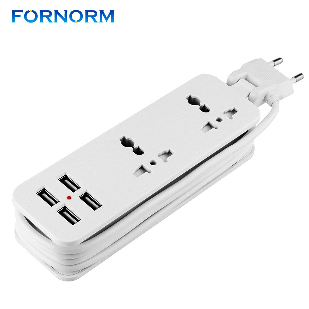 FORNORM EU Plug Smart Extension Socket  Portable Travel Power Strip  Surge Protector With 4 USB Charger Plug Power Socket  | Shopee Shipee Yipee