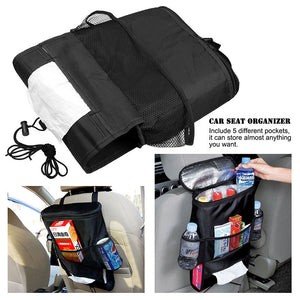 Car Seat Back Warmer/Cooler Organizer Bag with Tissue Box Drinks Holder