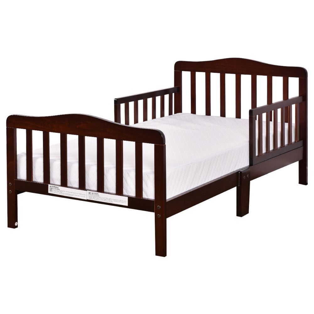 Baby Toddler Bed Kids Children Wood Bedroom Furniture w/Safety Rails Espresso BB4596BN | Shopee Shipee Yipee