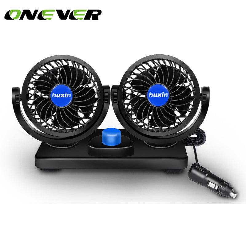 Onever 12V Car Cooling Fan With 360 Degree Rotatable Dual Head Low Noise 2 Gears Powerful Auto Fan Mini Air Conditioner for Car