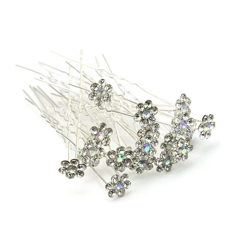20pcs Delicate Women's Bridal Bling Crystal Rhinestones Metal U-Shaped Hairpins Hair Clips -  | Shopee Shipee Yipee