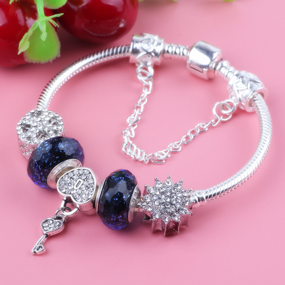 AIFEILI Heart Lock Pendant Snowflake Bead Security Chain Series High Quality Gift DIY Bracelet Women Jewelry Fashion Trend