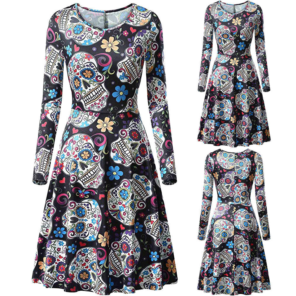 Women's Casual Three Quarter Sleeve Halloween  Printed  Cocktail Dress