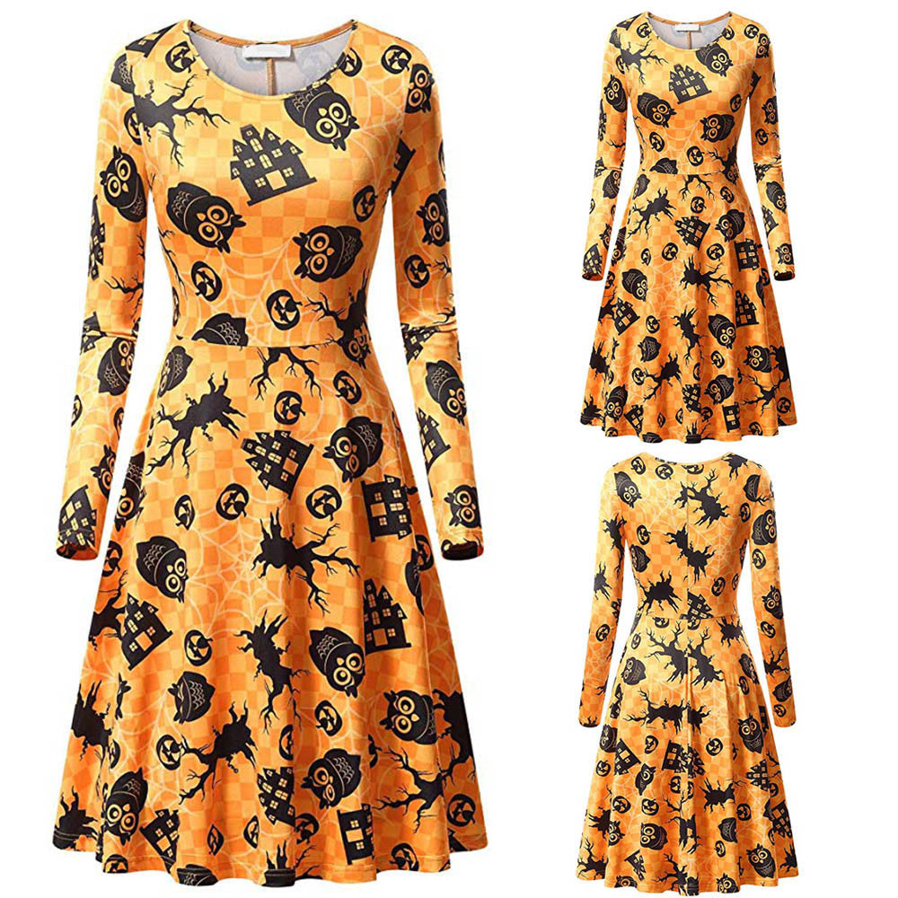 Women's Casual Long Sleeve Halloween Printed Cocktail Dress