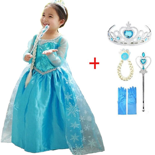 snow queen elsa dress baby girls Cosplay Dress Costume princess anna Dress Kids clothes Halloween Christmas dress for child - ShopeeShipee