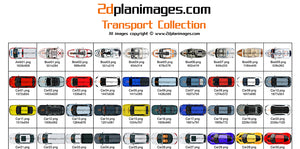 transport collection, 2d plan images, 2d plan symbols, cars, trucks, boats