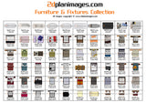 Furniture and fixtures collection 1, top down view, overhead, isolated background, 2d plan images, Baths, BBQ's, Beds, Bins, Chairs, Cooktops, Dining tables, Waste drains, Fridges, Lounges, Seating, Showers, Sinks, Basins, Pool tables, Spa's Toilets
