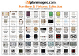 Furniture and fixtures collection 2, top down view, overhead, isolated background, 2d plan images, Baths, BBQ's, Beds, Bins, Chairs, Cooktops, Dining tables, Waste drains, Fridges, Lounges, Seating, Showers, Sinks, Basins, Pool tables, Spa's Toilets