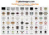 Furniture and fixtures collection 3, top down view, overhead, isolated background, 2d plan images, Baths, BBQ's, Beds, Bins, Chairs, Cooktops, Dining tables, Waste drains, Fridges, Lounges, Seating, Showers, Sinks, Basins, Pool tables, Spa's Toilets