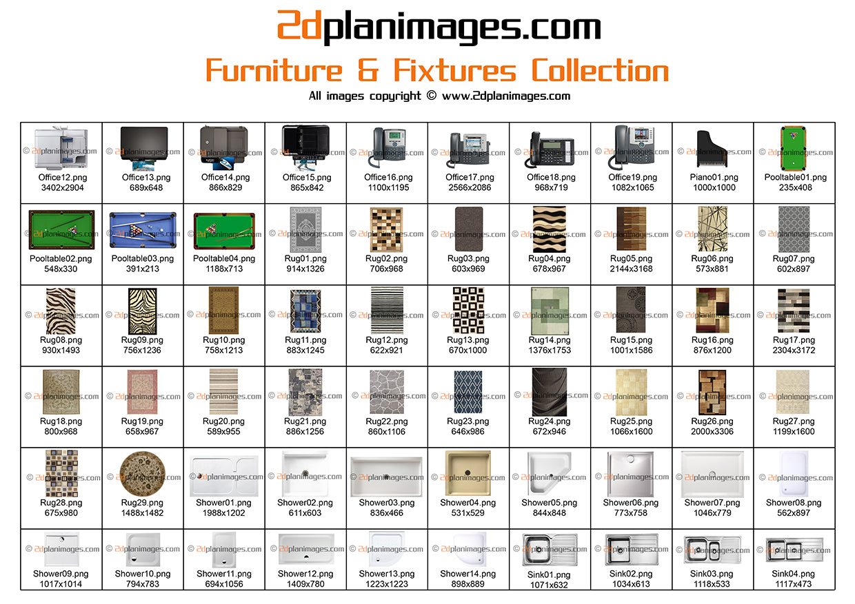 Furniture fixtures collection top down view overhead for Furniture and fixtures