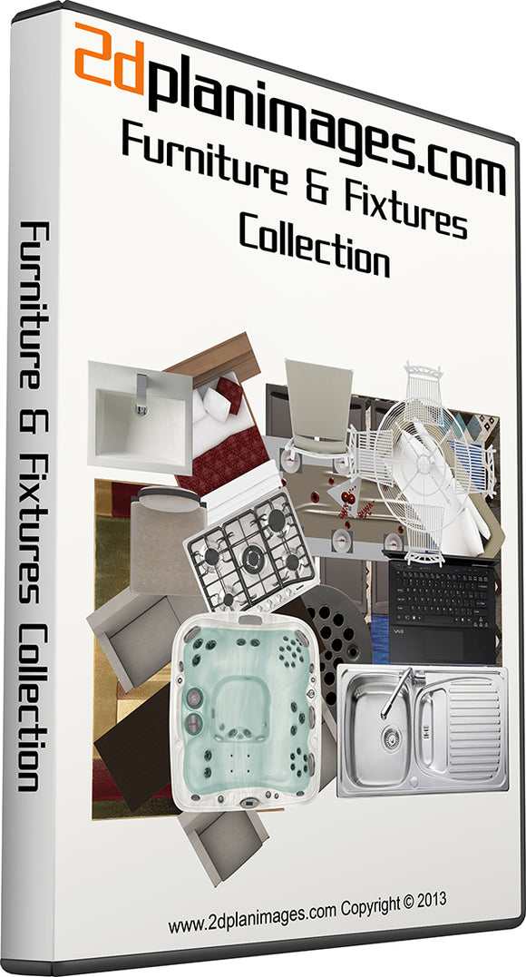 Furniture and fixtures collection, top down view, overhead, isolated background, 2d plan images