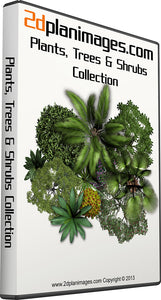 Plants, Trees & Shrubs Collection, top down view, overhead view, 2d colour floor plan, 2d plan images, isolated background