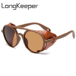 Vintage Steampunk Leather Side Shields Round Sunglasses (Unisex, UV400)