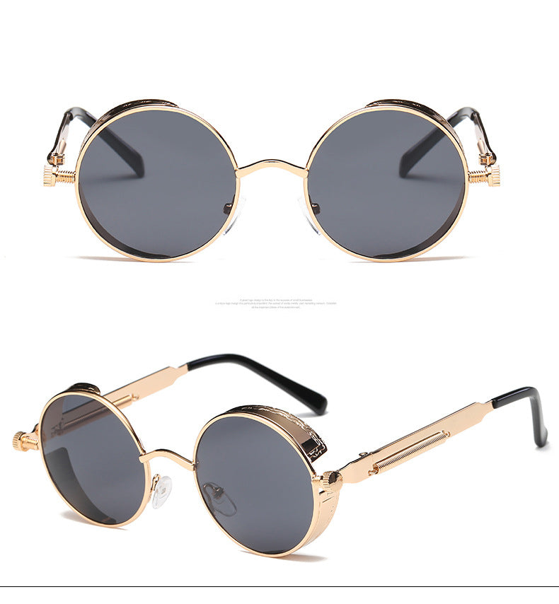 Retro Round Steampunk Metal Frame Sunglasses (Unisex. UV400)