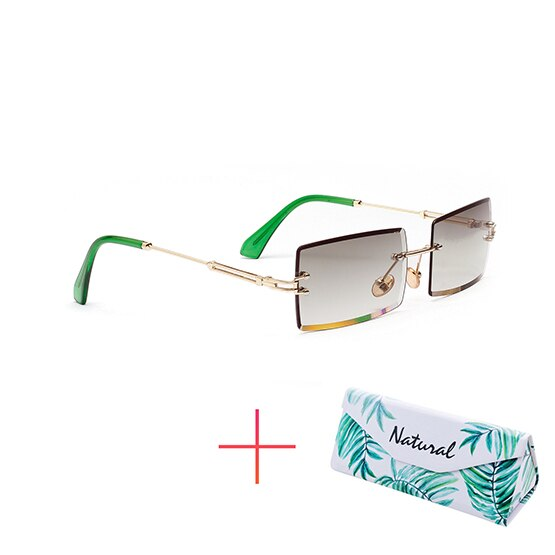 Rimless Luxury Sunglasses with Rectangular Shades Lens