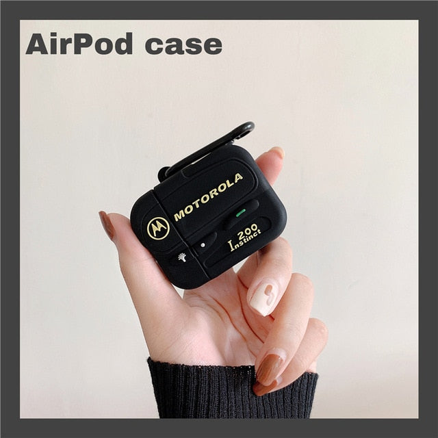 Black Motorola Pager Protective Silicone Case for Apple Airpods 1 & 2