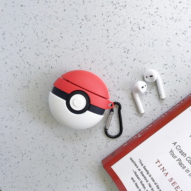 Pokemon Pokeball Protective Silicone Case with Keychain for Apple Airpods 1 & 2