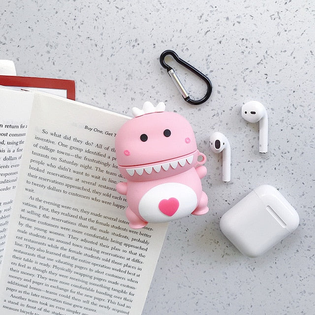 Cute Pink Dragon Protective Silicone Case for Apple Airpods 1 & 2