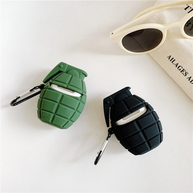 Bomb Grenade Protective Silicone Case with Keychain for Apple Airpods & Airpods Pro