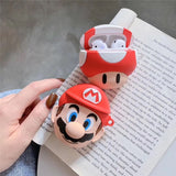 Nintendo Mario Toad with Keychain Protective Silicone Case for Apple Airpods 1 & 2