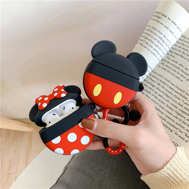 Disney Mickey Minnie Mouse with Finger Guard Strap Protective Silicone Case for Apple Airpods 1 & 2