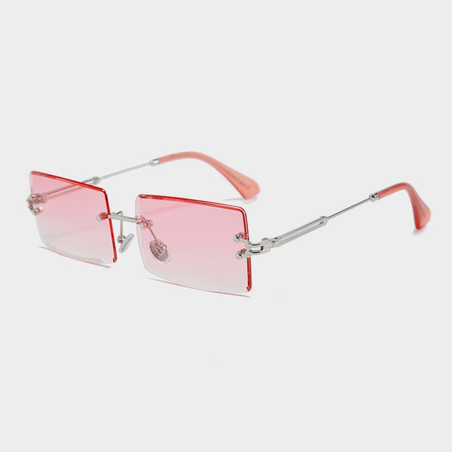 Trendy Fashion Rectangular Rimless Sunglasses for Women for women (UV400)