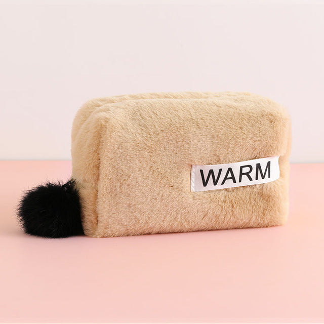 Plush pouch for cosmetic or pencil case