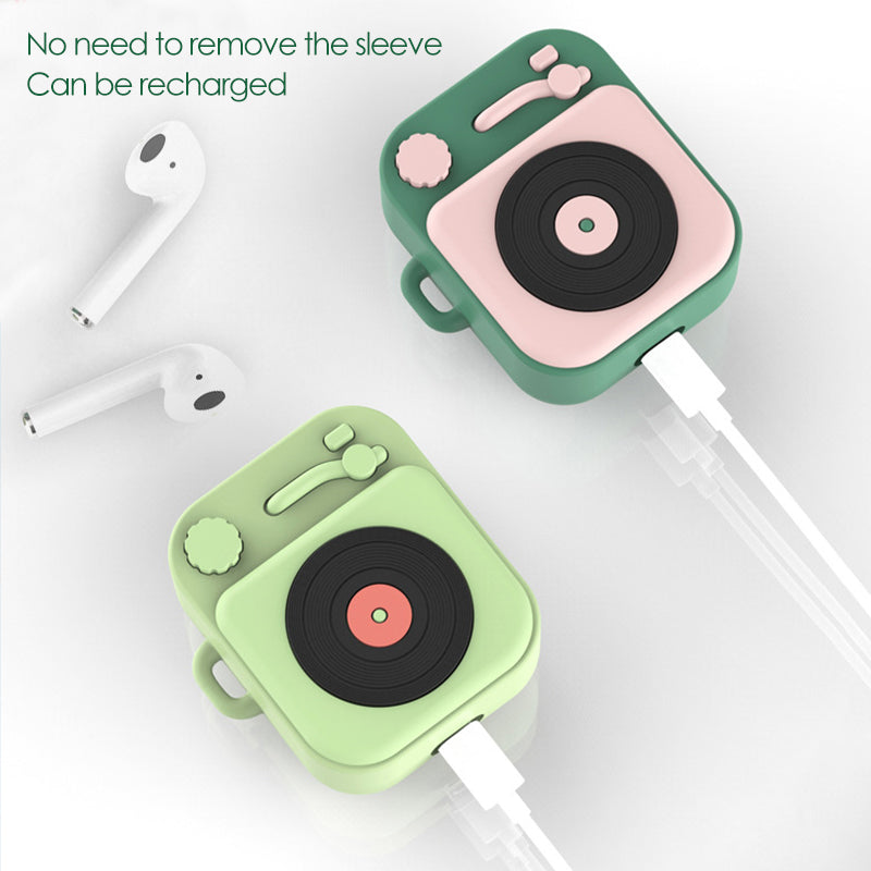Retro Turntable Vinyl Record Player with Finger Guard Strap Protective Silicone Case for Apple Airpods 1 & 2