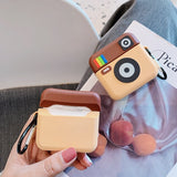 Old School Instagram Camera Protective Silicone Case with Finger Guard Keychain for Apple Airpods Pro