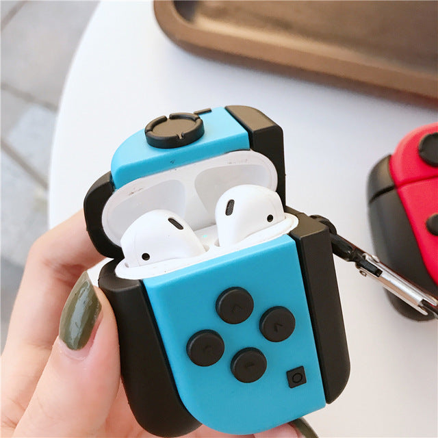 Nintendo Switch L/R Joy-Con Gamepad Protective Silicone Case with Keychain for Apple Airpods 1 & 2